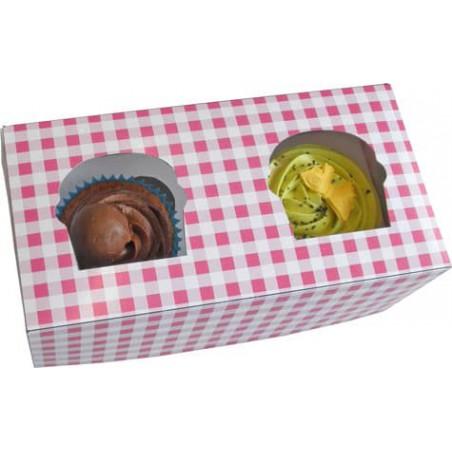 Caja con Soporte para 2 Cupcakes 19,5x10x7,5 B-20 (160 Unidades)