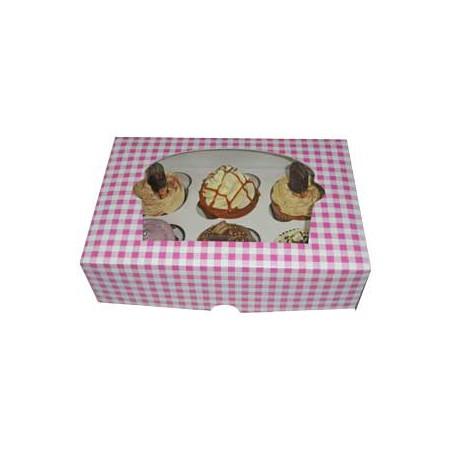 Caja con Soporte para 6 Cupcakes Rosa B-20 (Cajas de 100 Uds)