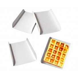 Bandeja de Carton Blanco para Gofres 13,5x10cm (100 Uds)