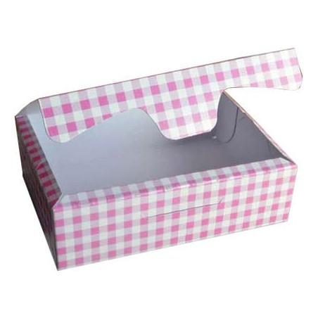 Caja para Pasteleria Carton 20,4x15,8x6cm 1Kg.  Rosa (200 Uds)