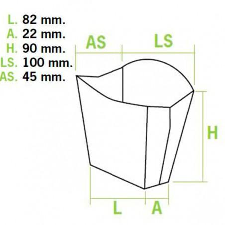 Caja para Fritas Pequeña 8,2x3,1x9cm (50 Uds)