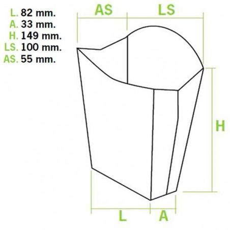 Caja Kraft para Fritas Grande 8,2x4,2x14,9cm (25 Uds)